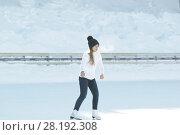 Купить «Teen girl skating on outdoor public ice rink», фото № 28192308, снято 8 марта 2018 г. (c) Константин Шишкин / Фотобанк Лори