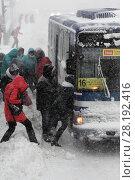Купить «Пассажиры садятся в автобус во время пурги», фото № 28192416, снято 26 декабря 2017 г. (c) А. А. Пирагис / Фотобанк Лори