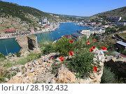 Купить «Вид на залив в Балаклаве и стены древней крепости. Крым», фото № 28192432, снято 30 мая 2017 г. (c) Яна Королёва / Фотобанк Лори