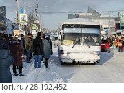 Купить «Пассажиры стоят на автобусной остановке в ожидании подхода общественного транспорта», фото № 28192452, снято 27 декабря 2017 г. (c) А. А. Пирагис / Фотобанк Лори