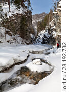 Купить «Winter landscape with a fast mountain river. Tourists travel through the gorge of a stream», фото № 28192732, снято 8 марта 2018 г. (c) Виктория Катьянова / Фотобанк Лори