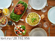 Купить «various food on served wooden table», фото № 28192956, снято 5 октября 2017 г. (c) Syda Productions / Фотобанк Лори
