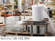 Купить «roll of foam wrap at woodworking factory workshop», фото № 28192960, снято 10 ноября 2017 г. (c) Syda Productions / Фотобанк Лори