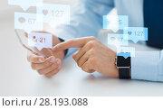 Купить «hands with smartphone and smart watch social media», фото № 28193088, снято 13 августа 2015 г. (c) Syda Productions / Фотобанк Лори