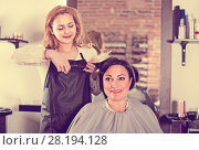 Купить «Hairdresser does to woman haircut with use of scissors and hairbrushes», фото № 28194128, снято 7 марта 2017 г. (c) Яков Филимонов / Фотобанк Лори