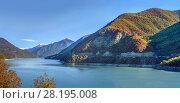 Купить «Zhinvali reservoir, Georgia», фото № 28195008, снято 6 октября 2017 г. (c) Boris Breytman / Фотобанк Лори