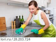 Купить «smiling woman clean up at home», фото № 28203724, снято 26 июня 2019 г. (c) Яков Филимонов / Фотобанк Лори