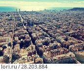 Купить «Aerial view of Barcelona, Spain», фото № 28203884, снято 11 февраля 2018 г. (c) Яков Филимонов / Фотобанк Лори