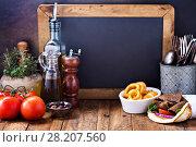 Купить «Greek food concept background», фото № 28207560, снято 15 марта 2018 г. (c) Елена Веселова / Фотобанк Лори