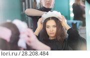 Купить «The process of creating a hairstyle with hairdressing accessories», видеоролик № 28208484, снято 23 января 2019 г. (c) Константин Шишкин / Фотобанк Лори