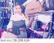Купить «Satisfied young female shopping new handbag», фото № 28208624, снято 28 мая 2018 г. (c) Яков Филимонов / Фотобанк Лори