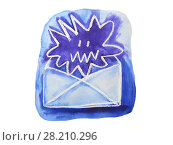 Купить «Email spam angry virus. Watercolor illustration.», иллюстрация № 28210296 (c) ViktoriiaMur / Фотобанк Лори