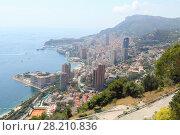 Купить «Scenic views of coast and residential areas of Principality of Monaco», фото № 28210836, снято 4 августа 2016 г. (c) Losevsky Pavel / Фотобанк Лори