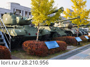 Купить «SEOUL - NOV 4, 2015: Row of tanks in military museum. Tanks drove through downtown Seoul at time largest military parade in South Korea», фото № 28210956, снято 4 ноября 2015 г. (c) Losevsky Pavel / Фотобанк Лори