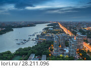 Купить «Khimki reservoir, residential district and city road at evening in Moscow, Russia. I have only one version of the photo with sharpening», фото № 28211096, снято 1 июня 2014 г. (c) Losevsky Pavel / Фотобанк Лори