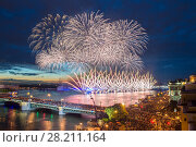 Купить «Crowd on Palace Bridge look at fireworks at night in St. Petersburg, Russia. I have only one version of the photo with sharpening», фото № 28211164, снято 21 июня 2014 г. (c) Losevsky Pavel / Фотобанк Лори