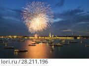 Купить «Many ships and boats on Neva river and fireworks at night in St. Petersburg, Russia», фото № 28211196, снято 26 июля 2015 г. (c) Losevsky Pavel / Фотобанк Лори