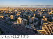 Купить «View from Business Center Domnikov to Sakharov avenue at sunrise in Moscow, Russia», фото № 28211516, снято 5 августа 2016 г. (c) Losevsky Pavel / Фотобанк Лори