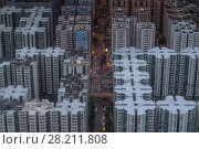 Купить «Residential buildings roofs in Hong Kong city, China, aerial view from Harbourfront center», фото № 28211808, снято 3 сентября 2015 г. (c) Losevsky Pavel / Фотобанк Лори