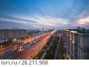 Купить «Arch of Triumph with illumination and Poklonnaya Hill Memorial at evening in Moscow, Russia», фото № 28211908, снято 11 октября 2013 г. (c) Losevsky Pavel / Фотобанк Лори