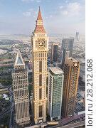 Купить «DUBAI, UAE - JAN 8, 2017: Tower, Al Yaqoub Tower, Capricorn Tower, Maze Tower, Dubai ranked fifth in Emporis ranking of world cities with largest number of skyscrapers», фото № 28212068, снято 8 января 2017 г. (c) Losevsky Pavel / Фотобанк Лори