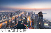 Купить «Beautiful Dubai Marina area and sea shore during sunset at evening, Dubai, UAE», фото № 28212104, снято 10 января 2017 г. (c) Losevsky Pavel / Фотобанк Лори