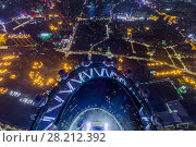 Купить «GUANGZHOU, CHINA - AUG 21, 2015: People on observation deck of Canton Tower at night, This is second tallest TV tower in world», фото № 28212392, снято 21 августа 2015 г. (c) Losevsky Pavel / Фотобанк Лори
