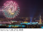 Купить «Bright fireworks explosions in night sky above Victory Park in Moscow, Russia», фото № 28212408, снято 9 мая 2014 г. (c) Losevsky Pavel / Фотобанк Лори