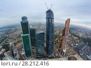 MOSCOW, RUSSIA - SEP 3, 2014: Skyscrapers of Moscow City business complex. Moscow International Business Center Moscow City includes 20 futuristic buildings. Редакционное фото, фотограф Losevsky Pavel / Фотобанк Лори