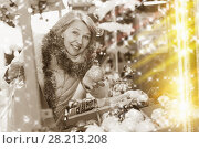 Купить «Smiling woman is buying toys for X-mas tree in the market», фото № 28213208, снято 21 декабря 2017 г. (c) Яков Филимонов / Фотобанк Лори