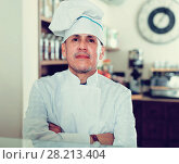 Купить «happy bakery male worker with delicious pies and rolls on counter», фото № 28213404, снято 22 апреля 2017 г. (c) Яков Филимонов / Фотобанк Лори