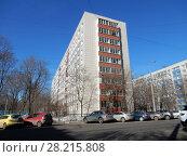 Купить «Девятиэтажный четырёхподъездный панельный жилой дом серии II-49Д, построен в 1973 году. Улица Куусинена, 4а корпус 3. Хорошевский район. Город Москва», эксклюзивное фото № 28215808, снято 20 марта 2018 г. (c) lana1501 / Фотобанк Лори