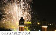 Купить «New Year celebrations with city lights at Placa Espana in Barcelona», видеоролик № 28217004, снято 9 января 2017 г. (c) Яков Филимонов / Фотобанк Лори