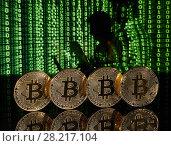Купить «Bitcoin cryptocurrency.», фото № 28217104, снято 20 марта 2018 г. (c) Мельников Дмитрий / Фотобанк Лори