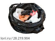 Купить «Черный пакет с пакетами. Изолированно на белом.», фото № 28219904, снято 24 марта 2018 г. (c) Терешко Сергей / Фотобанк Лори