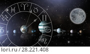 Купить «Astrology zodiac with planets in space and moon», фото № 28221408, снято 13 октября 2018 г. (c) Wavebreak Media / Фотобанк Лори