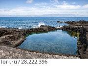Купить «Artificial beach and safe place for swimming on the Atlantic coast, Pico island, Azores», фото № 28222396, снято 2 мая 2012 г. (c) Юлия Бабкина / Фотобанк Лори