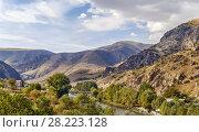 Купить «Kura river valley, Vardzia, Georgia», фото № 28223128, снято 9 октября 2017 г. (c) Boris Breytman / Фотобанк Лори