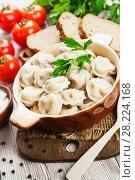 Купить «Dumplings in the pot», фото № 28224168, снято 19 февраля 2018 г. (c) Надежда Мишкова / Фотобанк Лори