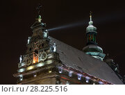 Купить «Night winter Bernardine Church and monastery top, Lviv, Ukraine», фото № 28225516, снято 10 декабря 2017 г. (c) Юрий Брыкайло / Фотобанк Лори