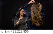 Купить «happy women dancing at party or disco», видеоролик № 28228856, снято 7 марта 2018 г. (c) Syda Productions / Фотобанк Лори
