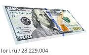 Купить «Banknote of one hundred american dollar with portrait of Benjamin Franklin», фото № 28229004, снято 23 марта 2019 г. (c) FotograFF / Фотобанк Лори