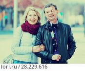 Купить «Loving pensioners couple walking in city», фото № 28229616, снято 24 февраля 2019 г. (c) Яков Филимонов / Фотобанк Лори