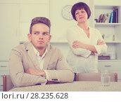 Купить «woman tries to persuade man», фото № 28235628, снято 16 августа 2018 г. (c) Яков Филимонов / Фотобанк Лори