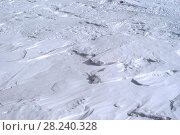 Купить «Background - surface of the firn field (dense caked snow) on the slope of the mountain», фото № 28240328, снято 23 марта 2018 г. (c) Евгений Харитонов / Фотобанк Лори