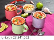 Купить «portions of cold gazpacho in cups», фото № 28241552, снято 19 марта 2018 г. (c) Oksana Zh / Фотобанк Лори