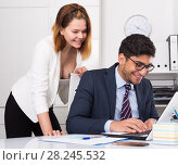 Купить «Sexual harassment between colleagues», фото № 28245532, снято 1 июня 2017 г. (c) Яков Филимонов / Фотобанк Лори