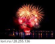 Купить «Celebratory bright firework», фото № 28255136, снято 8 августа 2015 г. (c) ElenArt / Фотобанк Лори