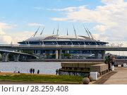 Купить «Вид на стадион Санкт-Петербург арена и ЗСД из парка 300-летия Санкт-Петербурга», эксклюзивное фото № 28259408, снято 25 июня 2017 г. (c) Александр Щепин / Фотобанк Лори