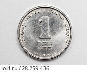 Купить «Израильская  монета 1 шекель на светлом фоне», эксклюзивное фото № 28259436, снято 31 марта 2018 г. (c) Игорь Низов / Фотобанк Лори